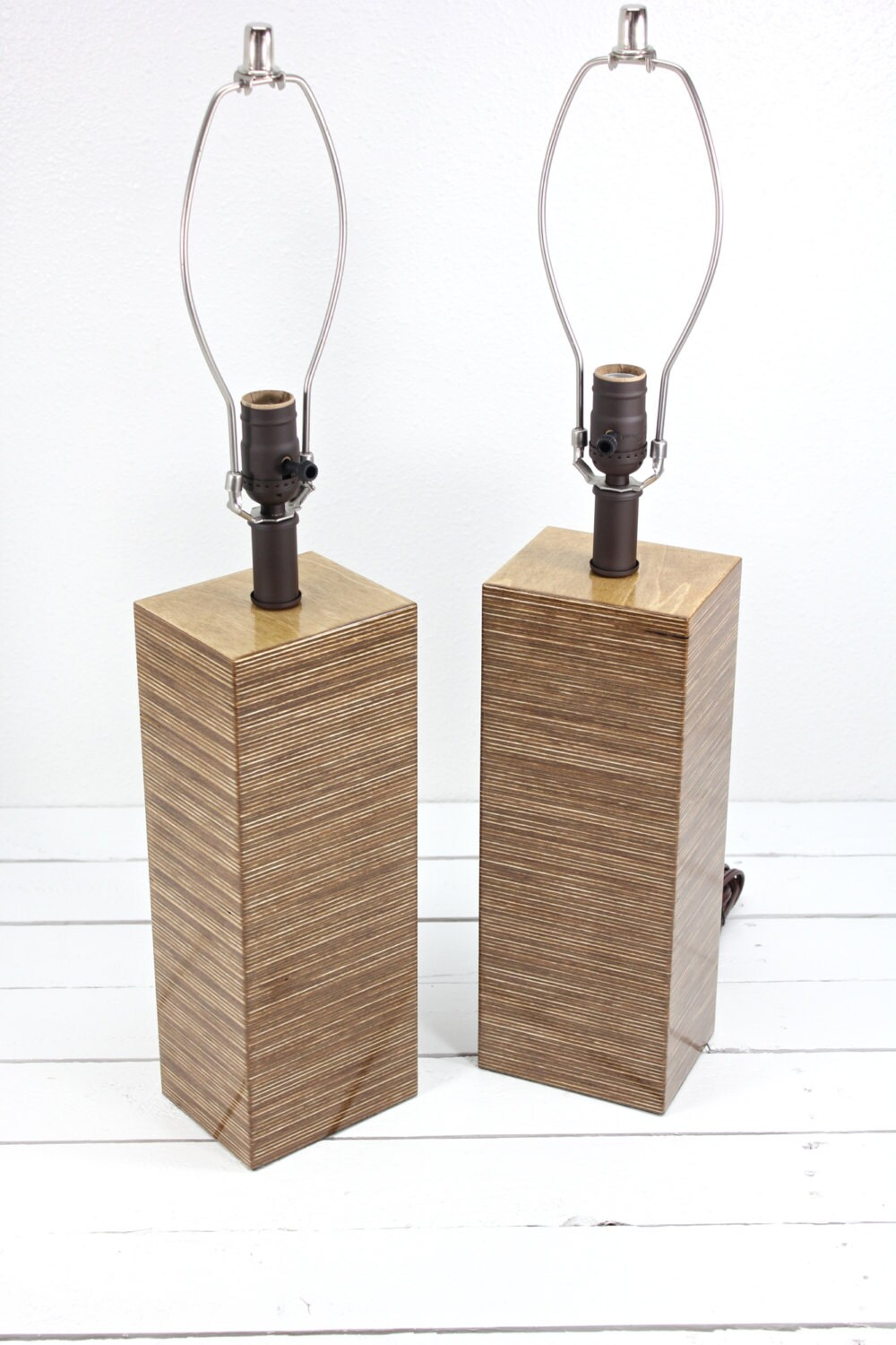items similar to tall modern square wood table lamp medium walnut on. Black Bedroom Furniture Sets. Home Design Ideas