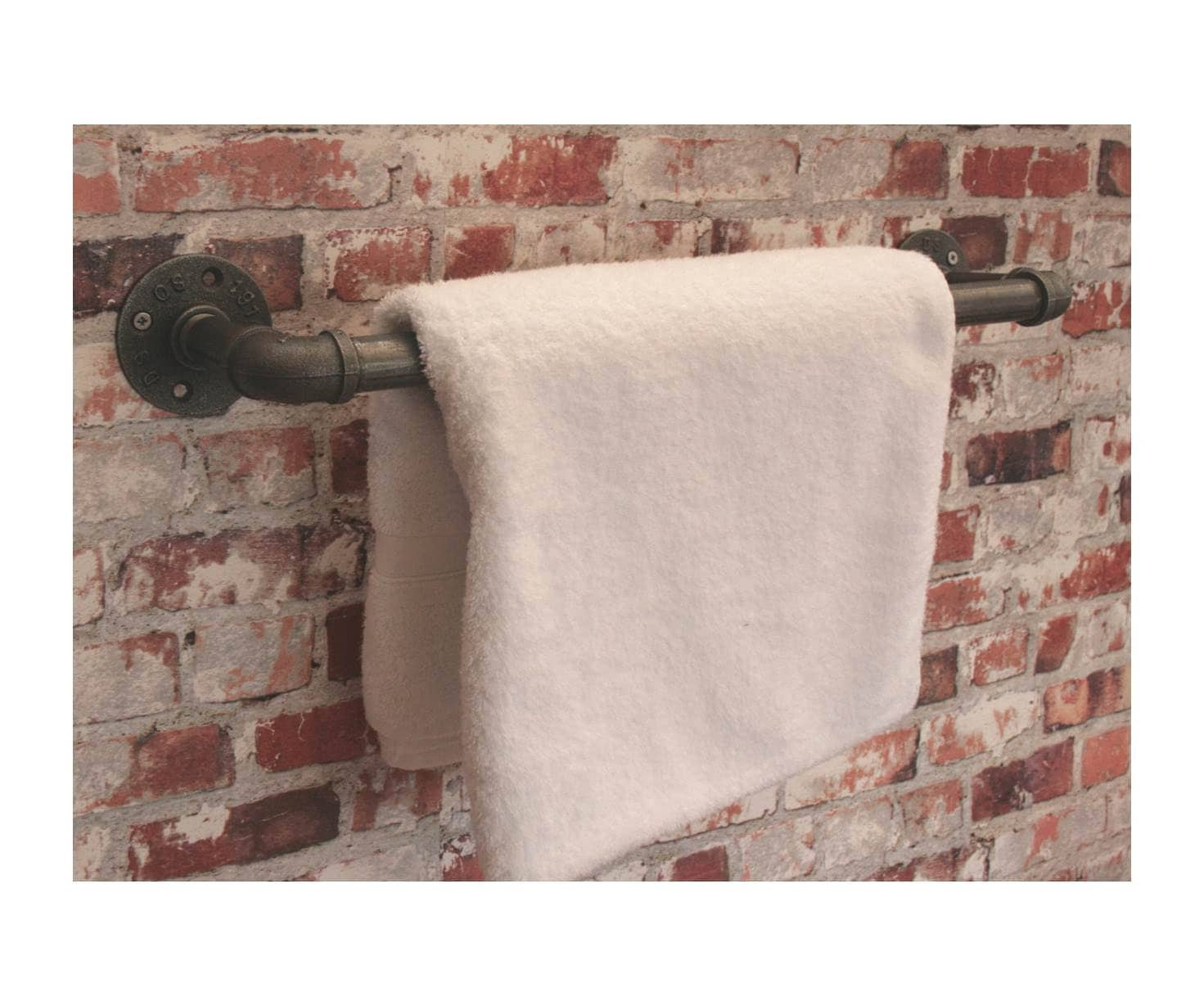 INDUSTRIAL TOWEL RAIL 34 Pipe  Utensil Steampunk Kitchen Bathroom Storage Old Victorian Style Water Pipes