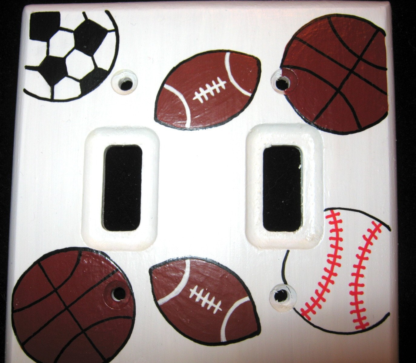 Sports Balls Double Light Switch Plate Cover By