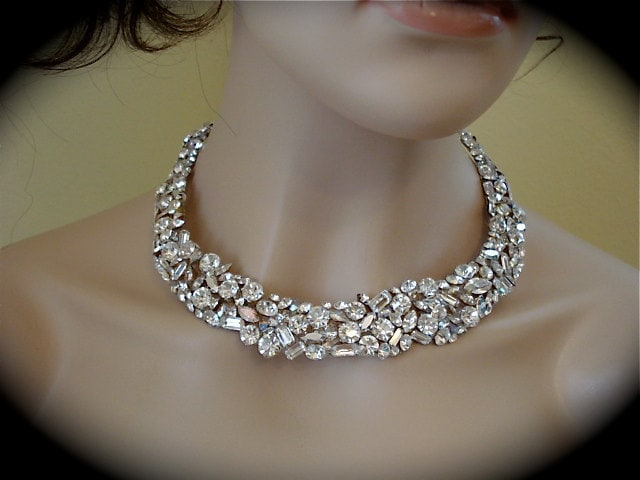 Swarovski Crystal  Bridal Rhinestone Statement Necklace, bridal necklace, crystal wedding necklace, crystal bridal necklace