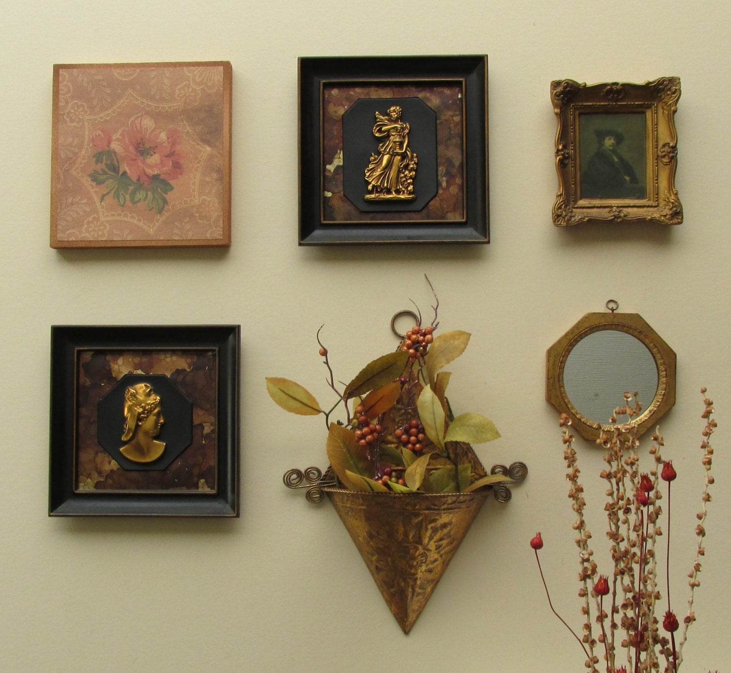 wall art in a flash - Victorian Decorative - 6 pc wall gallery with mirror- feng shui