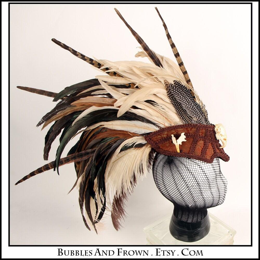 Burnt Skull.... Feather Headdress with Skulls - BubblesAndFrown