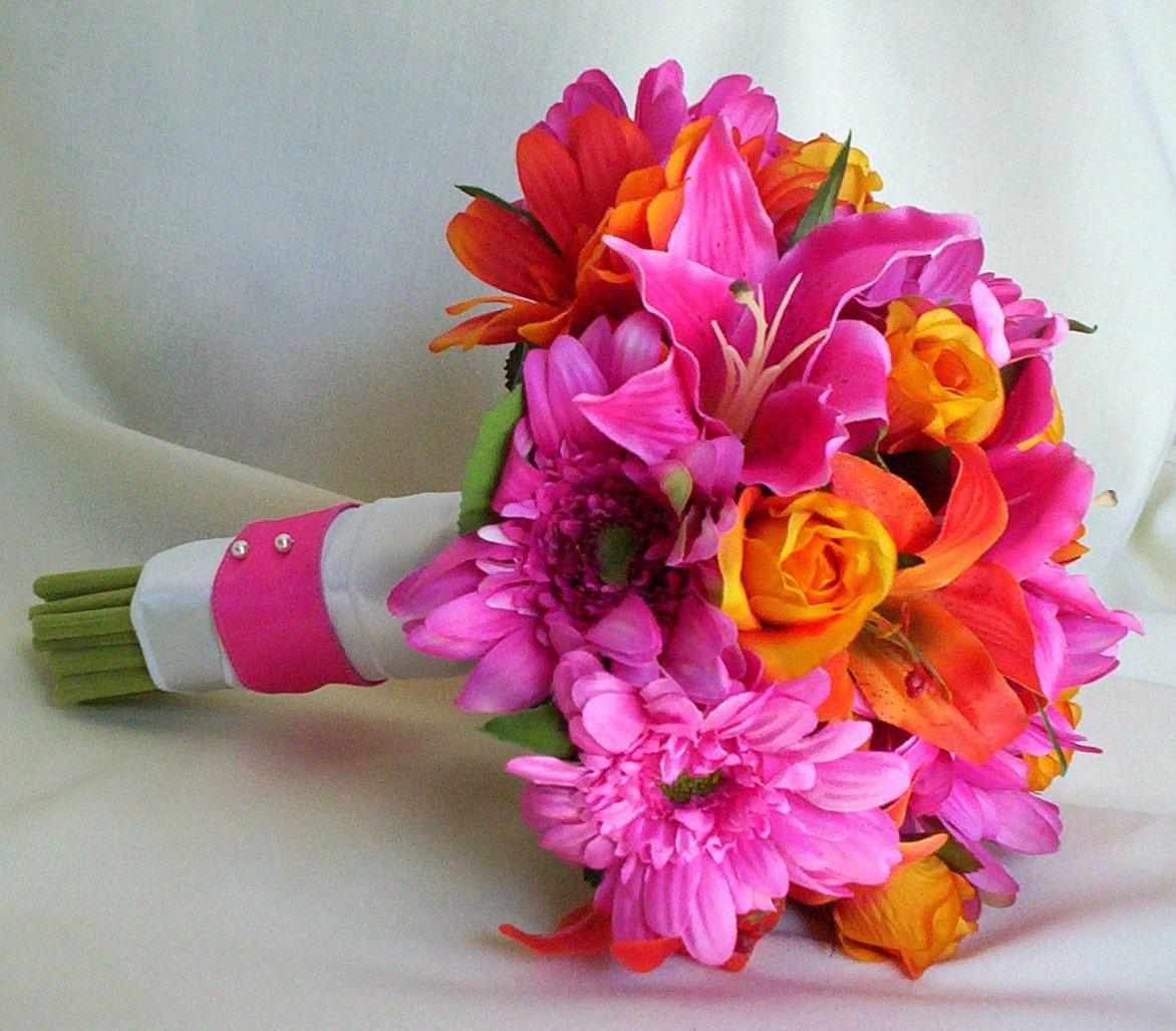hot pink purple silk bridal bouquets by amorebride by amorebride. Black Bedroom Furniture Sets. Home Design Ideas