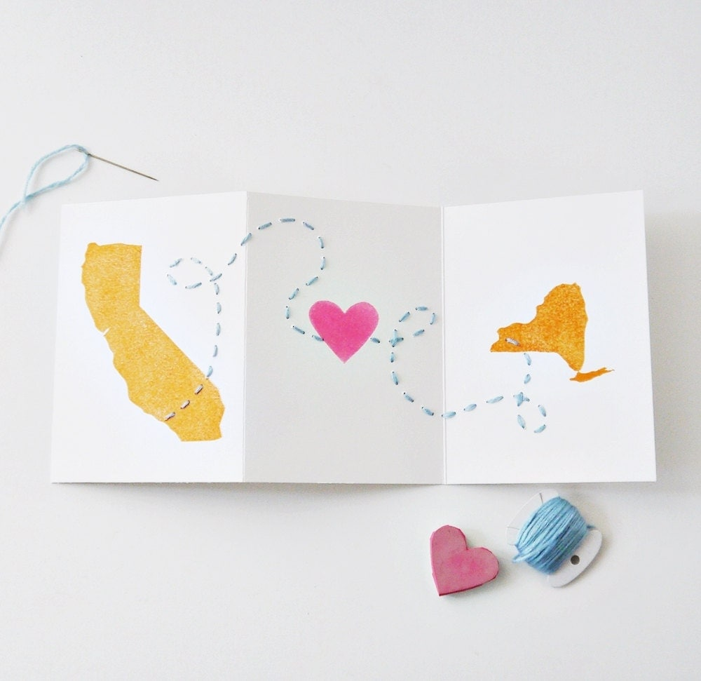 Long Distance Love Card - Valentine's Day, Anniversary, Wedding // Any US States or Countries // Linocut & Embroidery // Charitable Donation - atiliay