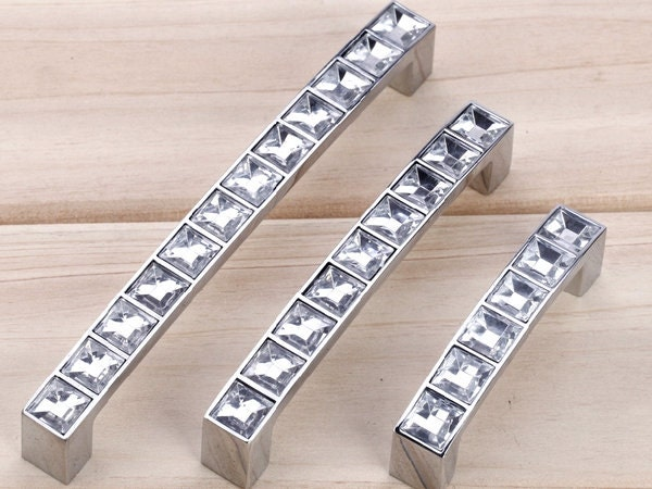 Glass crystal look dresser pulls drawer pull by aroserambling for 70mm cabinet pulls