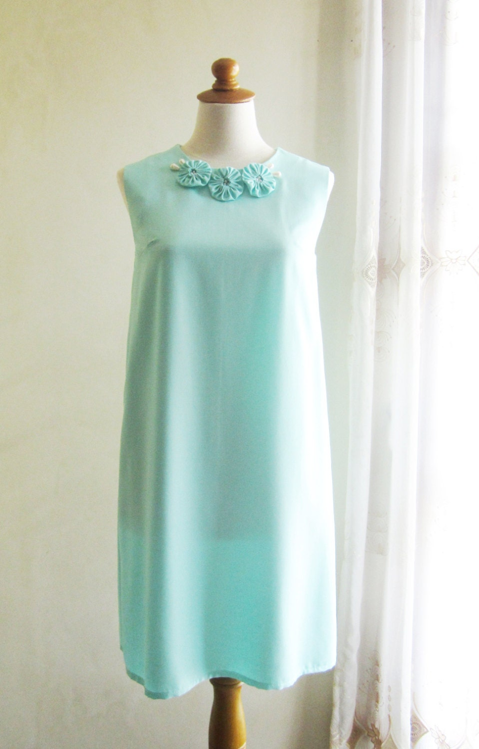 Sleeveless Linen Dress in Mint Color with Fabric Flower and Pearl Embellishment - CielleBoutique