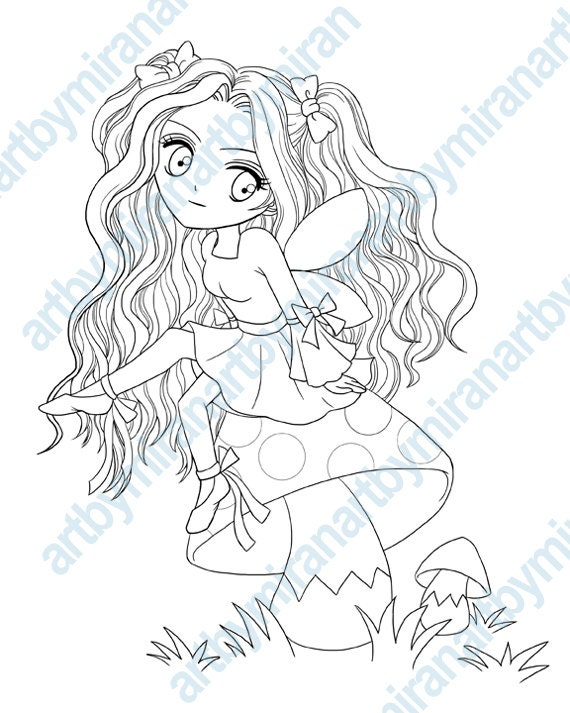 kids coloring book digi stamp coloring page little fairy sitting on