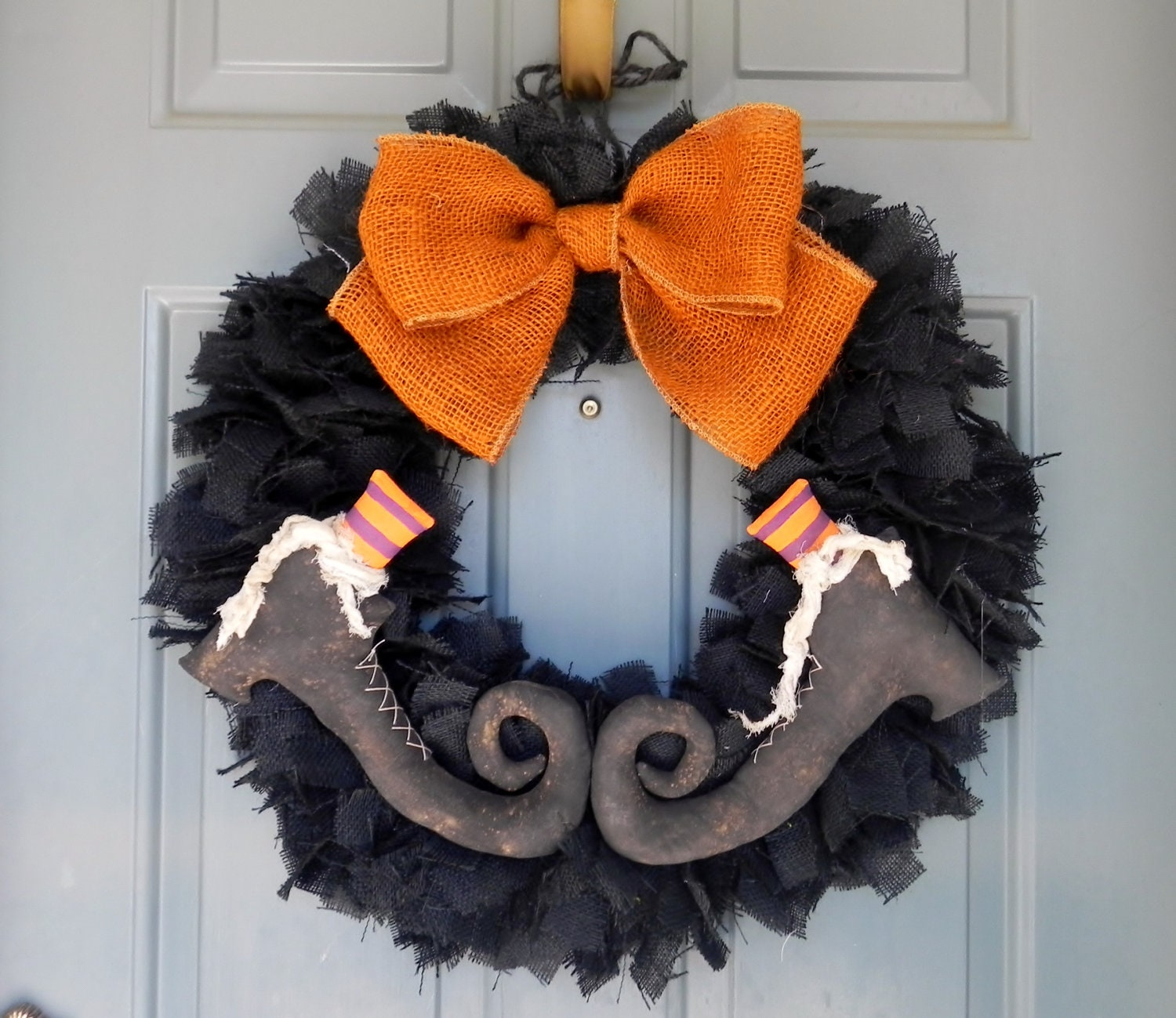 Burlap Halloween Wreath Size X Large With By Redrobynlane