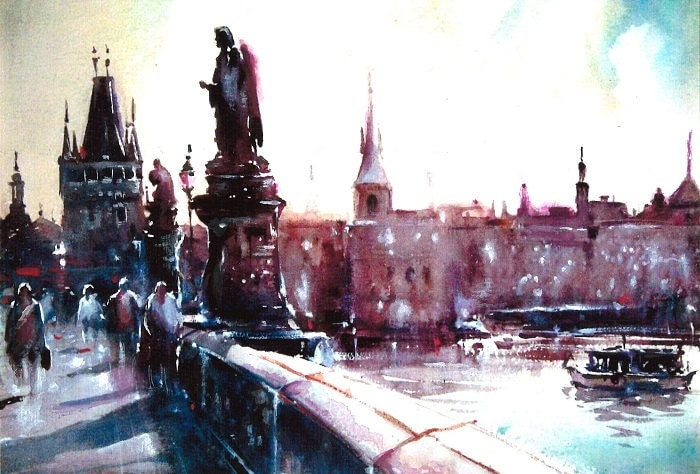 Print from Original Watercolor Illustration Cityscape City Art Painting tittled Charles Bridge - Mysoulfly