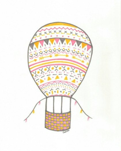 Hot Air Balloon- Tribal- Hand drawn art- pink, yellow, gray