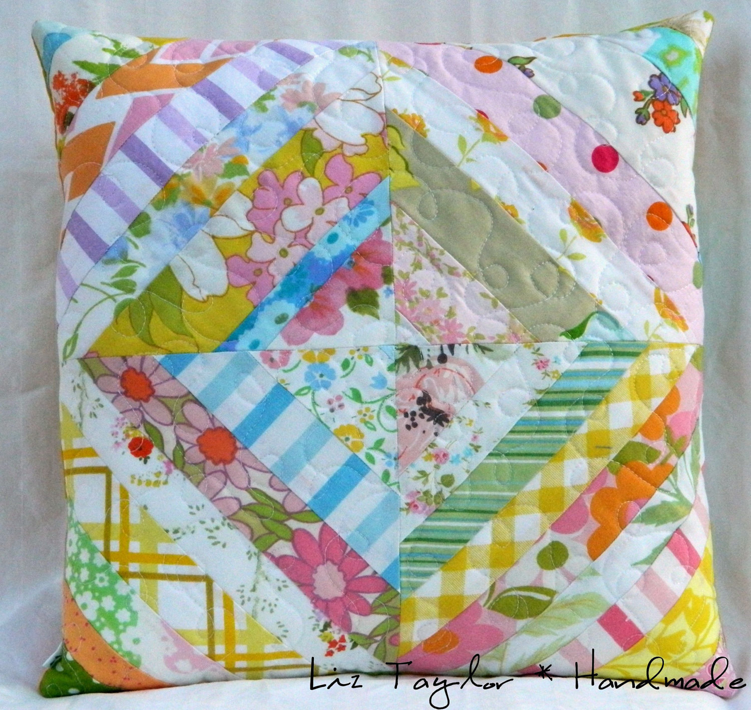 Quilted Decorative Pillow Covers : Handmade quilted pillow cover vintage sheets by LizTaylorHandmade