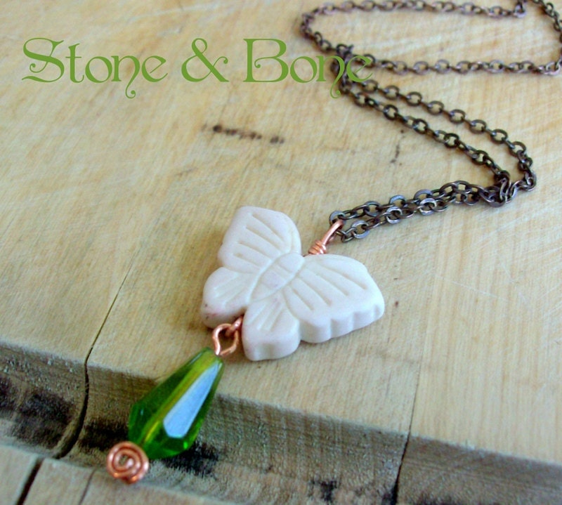 Woodland Butterfly Green & White Copper Necklace - Bohemian Jewelry - Rustic Antique Chain - stoneandbone