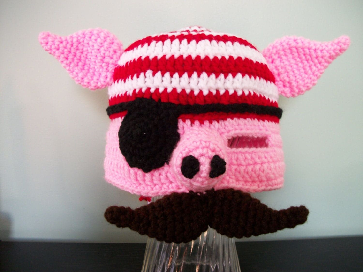 Crochet Pirate Pig Hat with Mustache - MamawsMadness