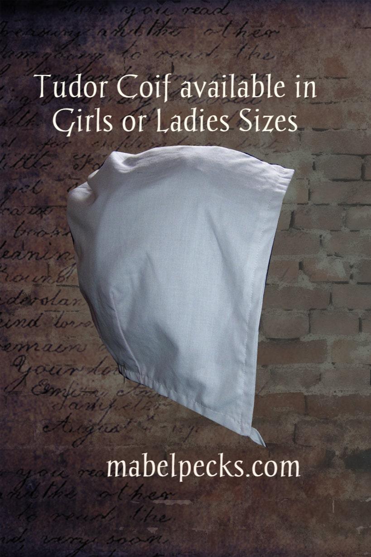 Ladies 100 Cotton Tudor Style Coif Hat