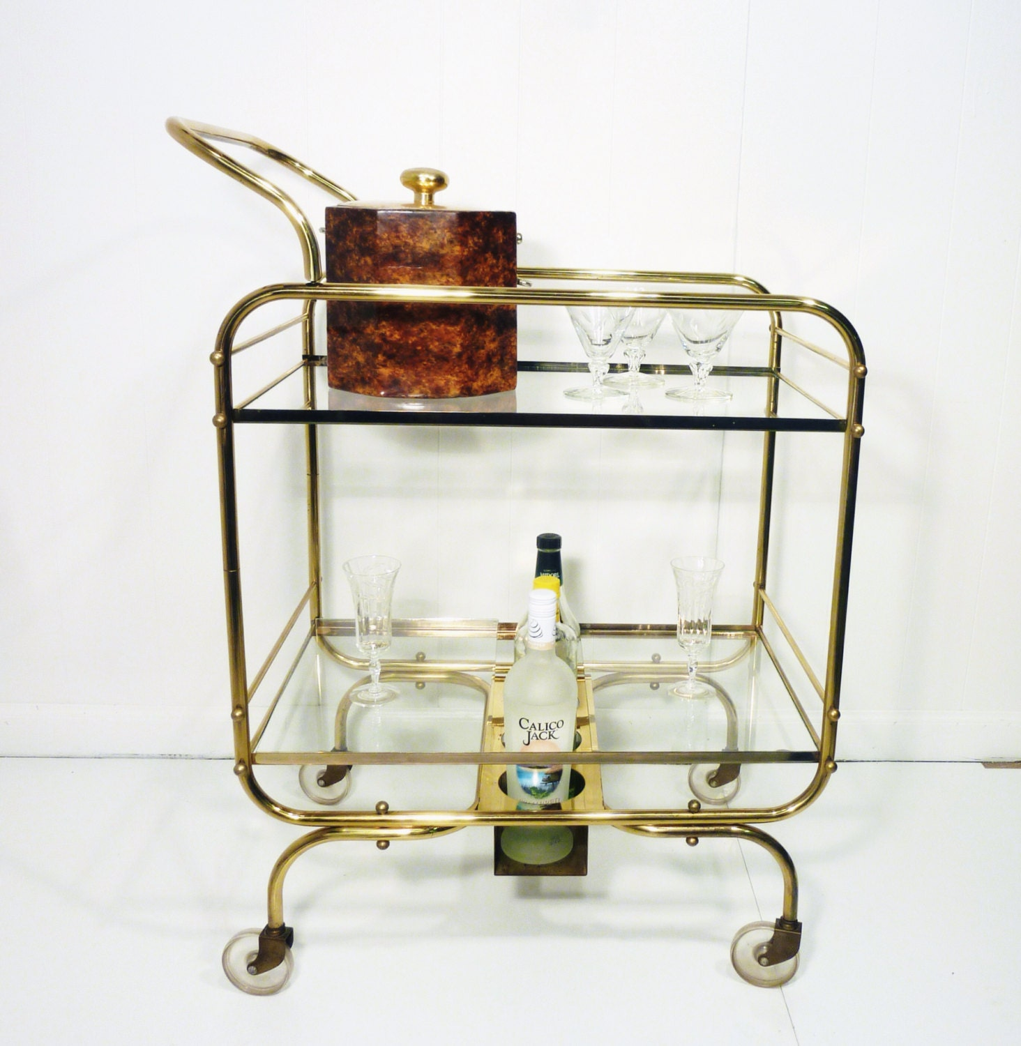 Cosco Chippy Red Metal Kitchen Cart Movable Painted Vintage: Mid Century Brass Metal Bar Cart Glass Shelves By Gillardgurl