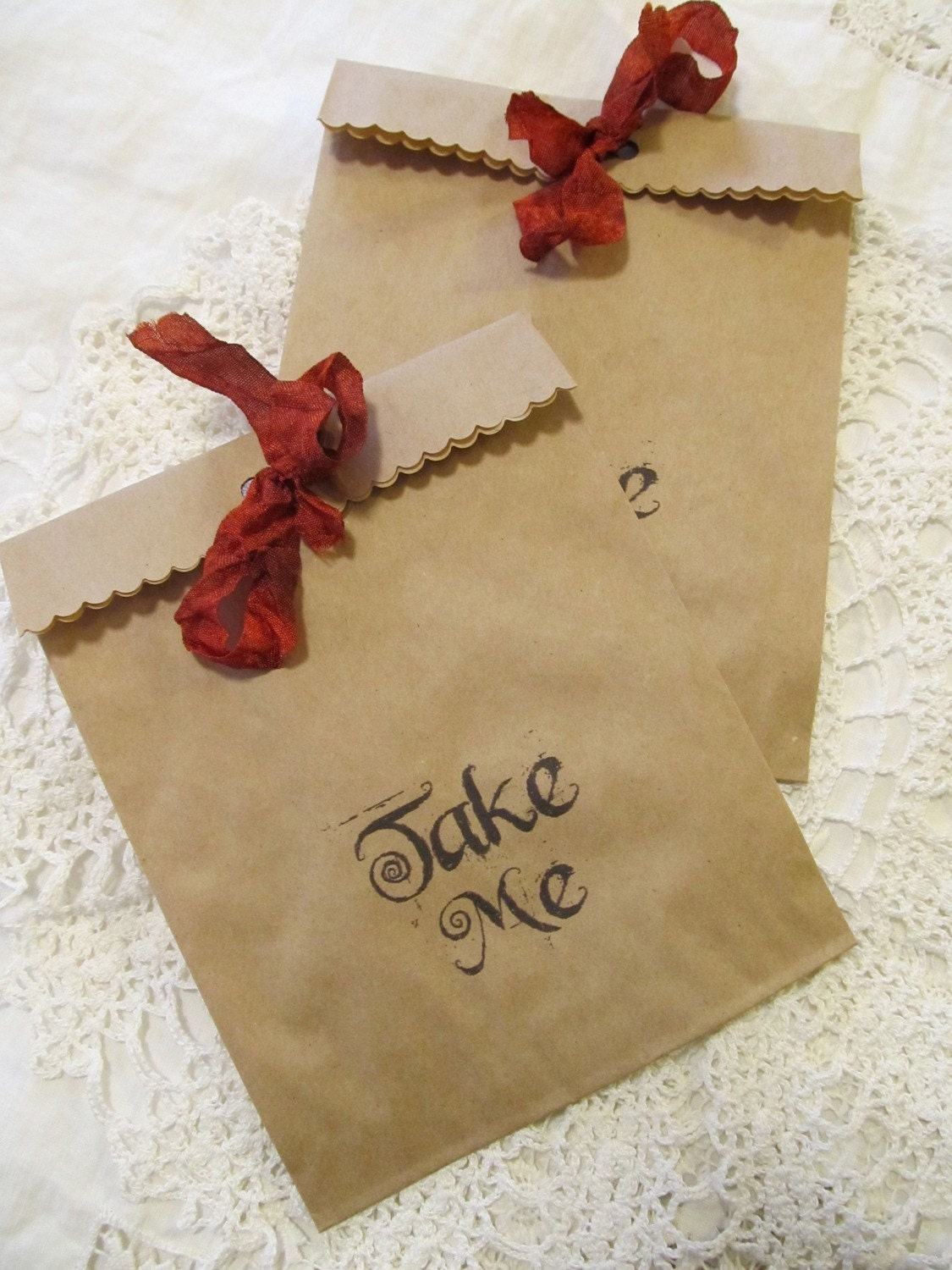 Take Me Kraft Paper Party Favor Treat Bags with Ribbon - Set of 10