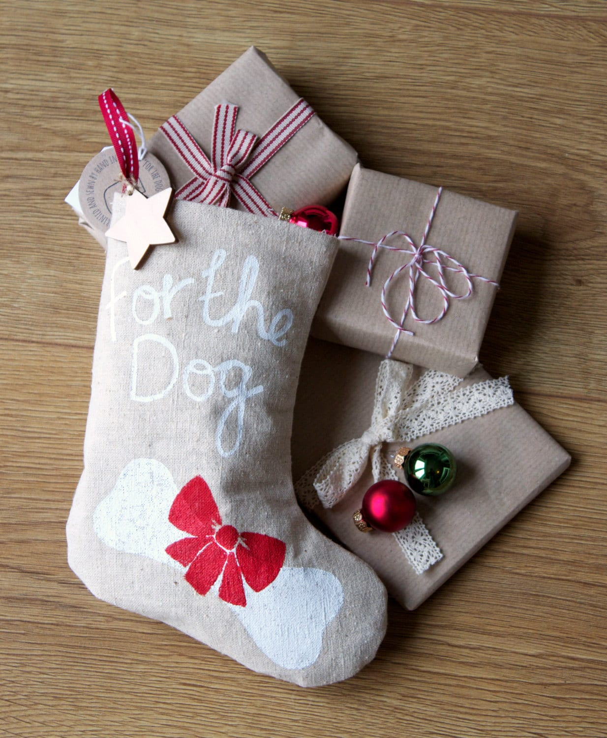 "Christmas Pet Stocking for a Dog.""For the Dog"". Screen Printed Red & White Christmas Stocking. Bone. Family pet Christmas Gift. Puppy gift."