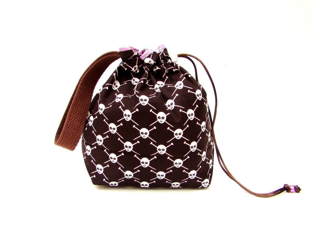 Knitting Pattern Small Drawstring Bag : Sock Knitting Bag Drawstring Project Bag by slippedstitchstudios