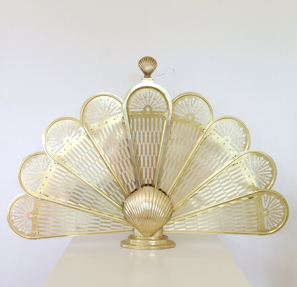 Vintage Brass Fireplace Screen Scallop Shell Fan By