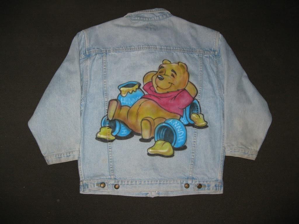 Vintage 1980s Bugle Boy Winnie the Pooh Airbrushed Denim Jacket