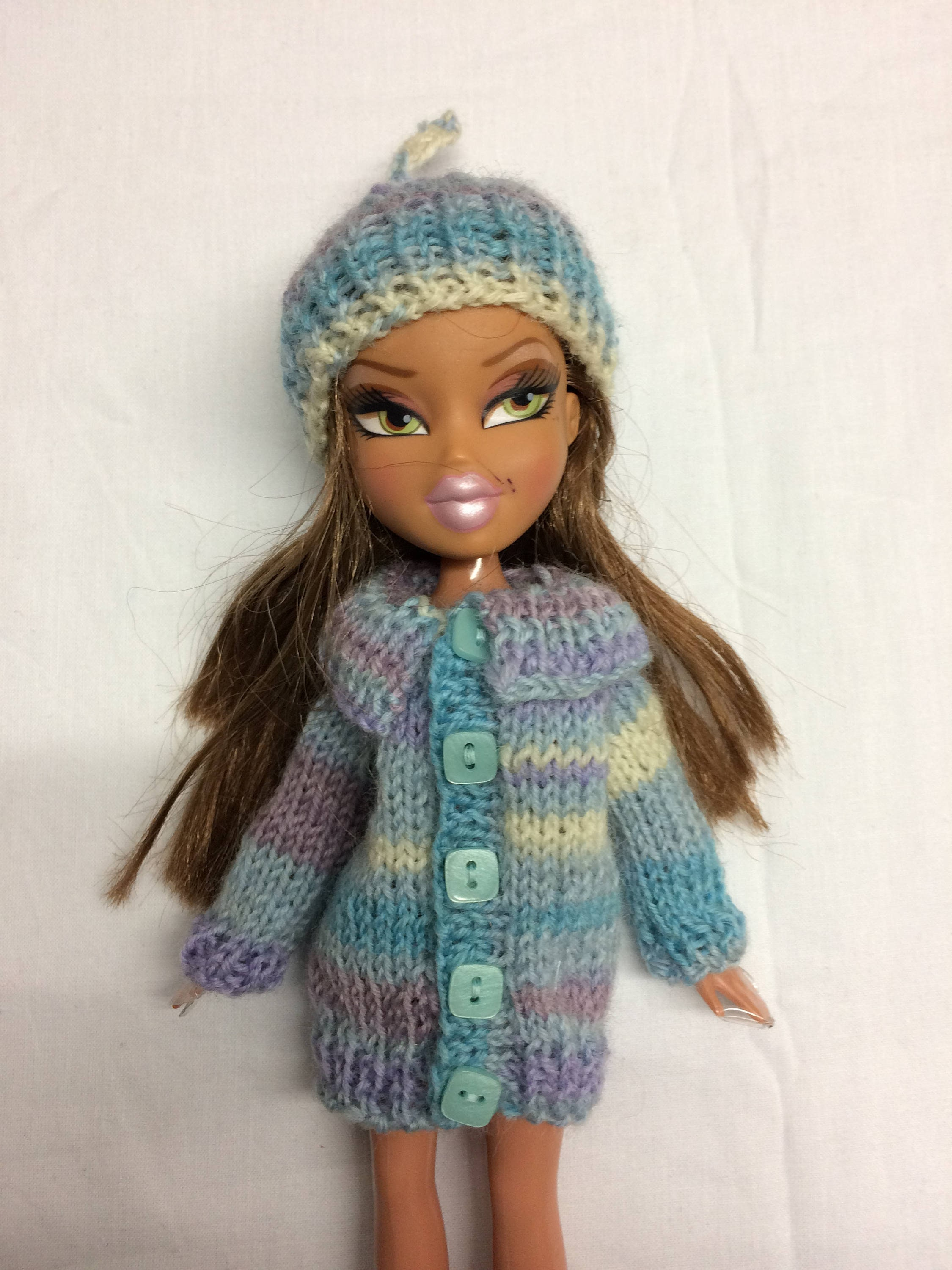 Blue, multi striped sweater and hat for 10inch Bratz doll. OOAK hand knit hat and coat with big collar for skinny doll. Doll clothes.