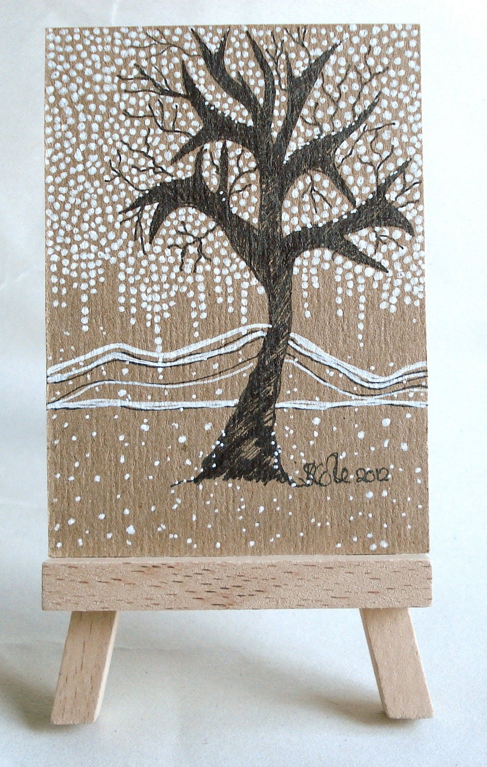 Original Drawing ACEO - Winter Themed Art - Winter Tree