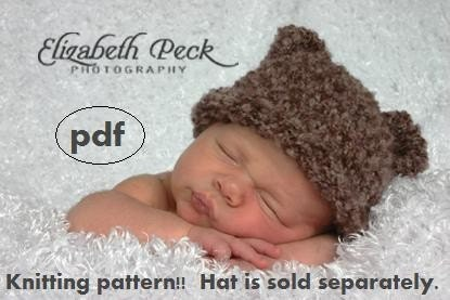 Knitting Pattern For Rolled Brim Baby Hat : Baby Bear Roll Brim Hat Knitting Pattern PDF Number 111 by ...