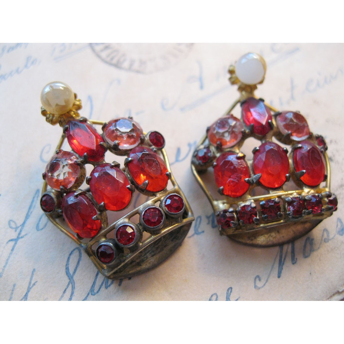 SALE - 2 vintage CROWN brooches - a FABULOUS pair - red stones, each slightly different, so unique