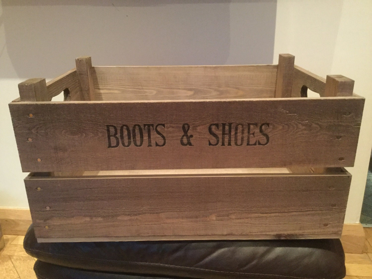 Wooden Vintage style reproduction Boots and Shoes storage Apple Crate Bushel Box