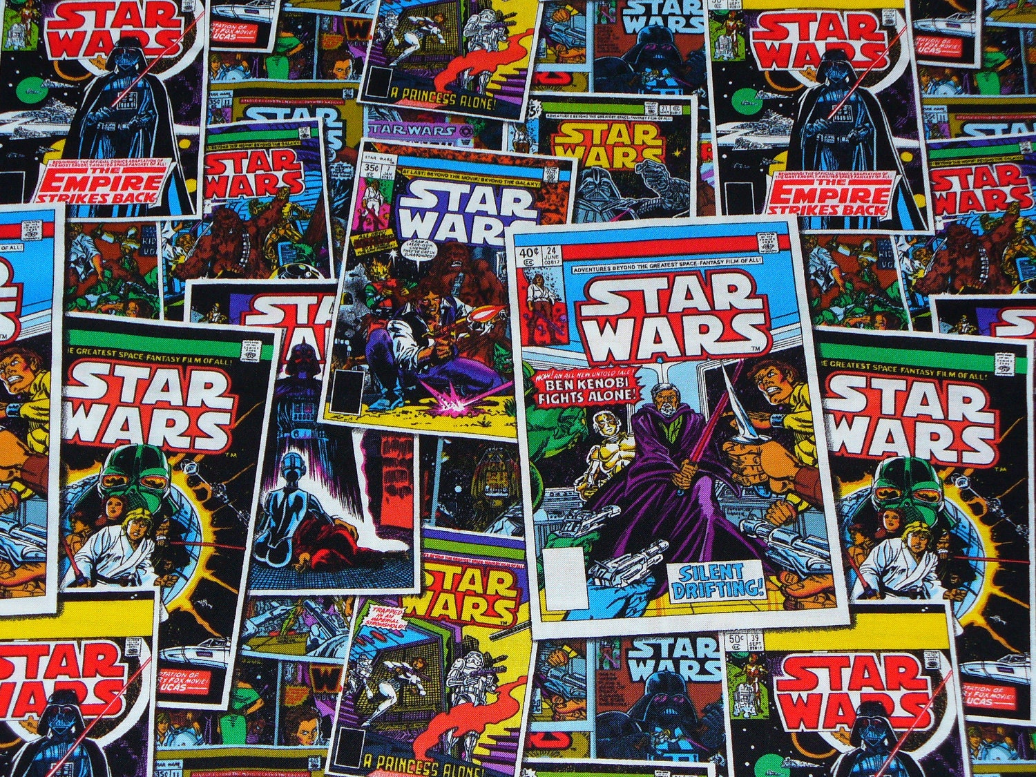 Comic Book Cover Material ~ Star wars comic book covers fabric vintage by