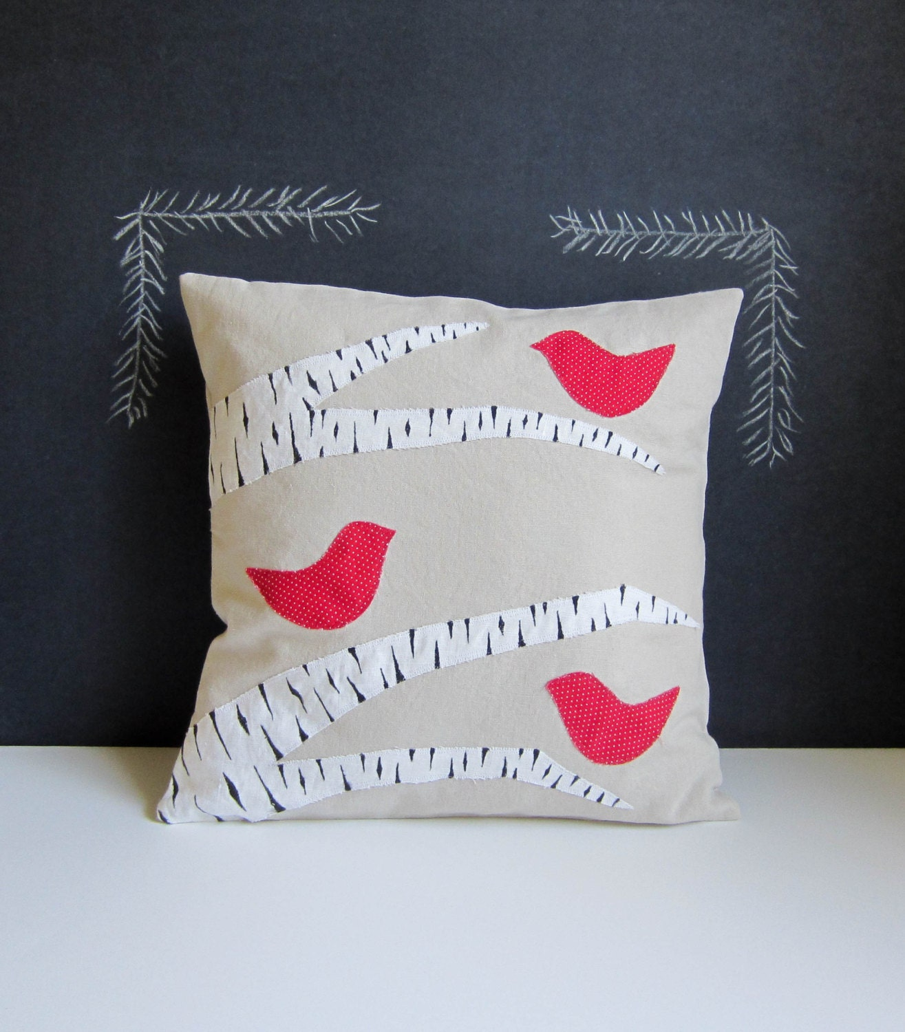 Winter red birds in a birch tree pillow cover - agoodhome