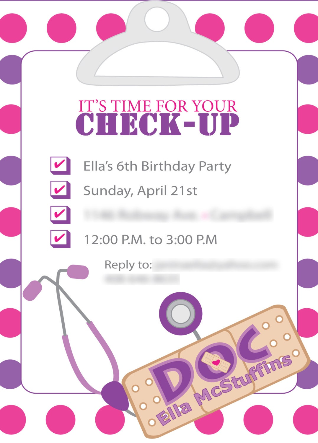Items similar to Doc McStuffins Inspired Birthday invites ...