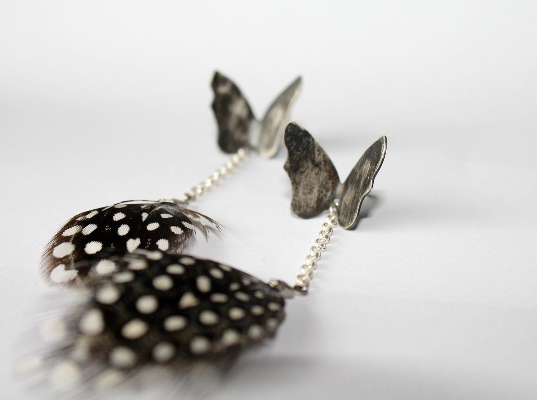 The Black Butterfly Effect-Sterling Silver Long Stud Earrings-Silver Chain-Guinea Feathers-Oxidized-Rock-Chic-Dark Romantic - MarrenJewelry