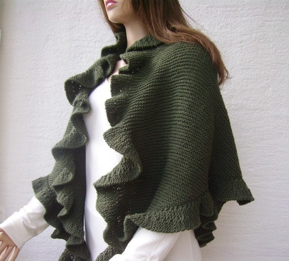 Knitting Pattern For Kate Middleton s Shawl : Items similar to RESERVED Kate Middleton Olive Green Cashmere Three Sides Ruf...