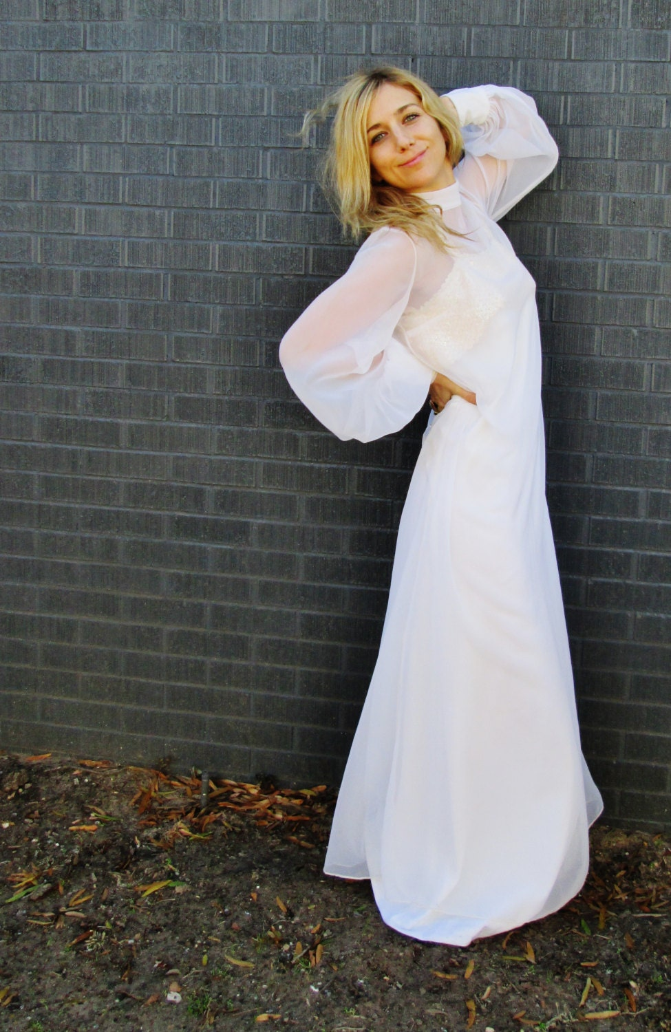 1970s ANGEL white wedding dress. sheer overlay bohemian mod maxi gown. sequin detailing. vintage retro bridal gown. button back gown - AlexAndAftonVintedge