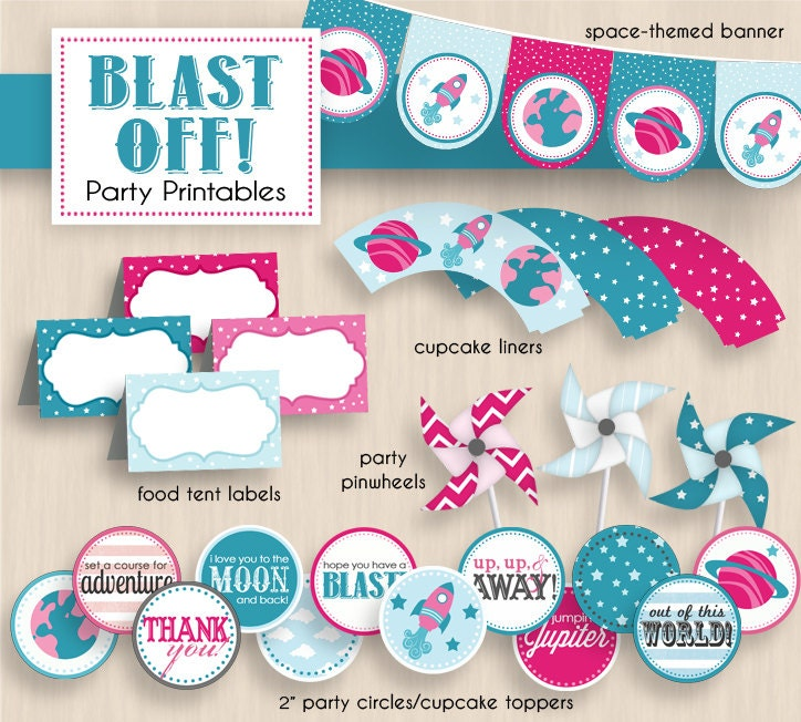 blast off baby shower party printable package in pink and teal