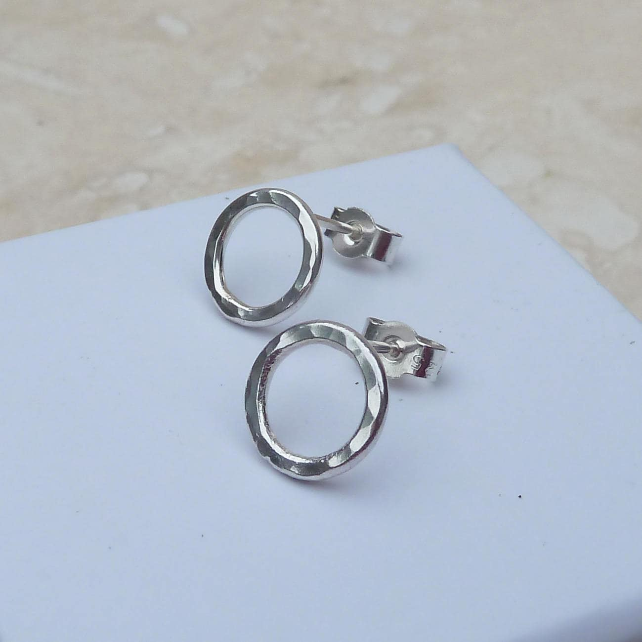 Sterling Silver 10mm Hammered Round Hoop Stud Earrings  STUD061  handmade jewellery jewelry gift love heart anniversary