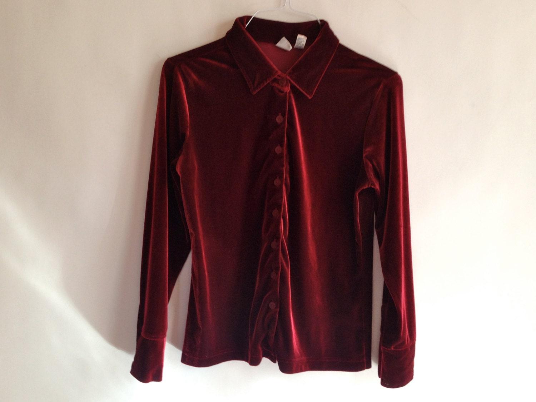 90s dark red velvet button up shirt by xblingringx on etsy
