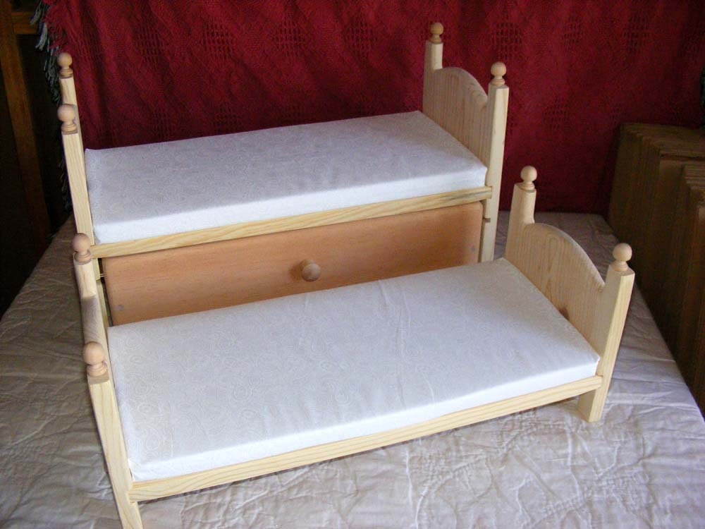 Detachable doll bunk bed with trundle and by acraftersnook for Detachable bunk beds