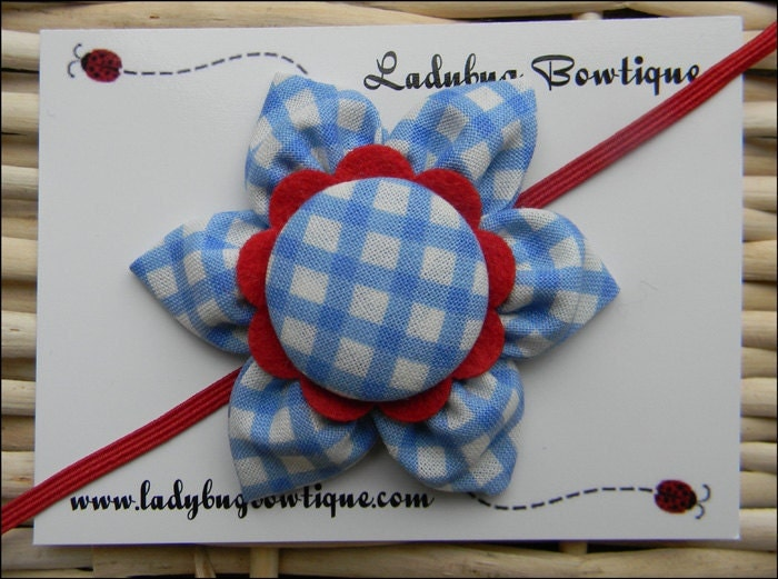 Sweet Six-Petal Fabric Flower Hair Clip or Skinny Elastic Headband - Dorothy