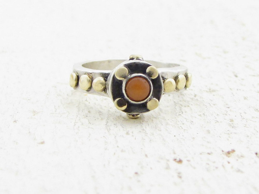 Coral Ring - Sterling Silver & Gold Ring - Gold Coral Ring - OOAK Ring - Omiya