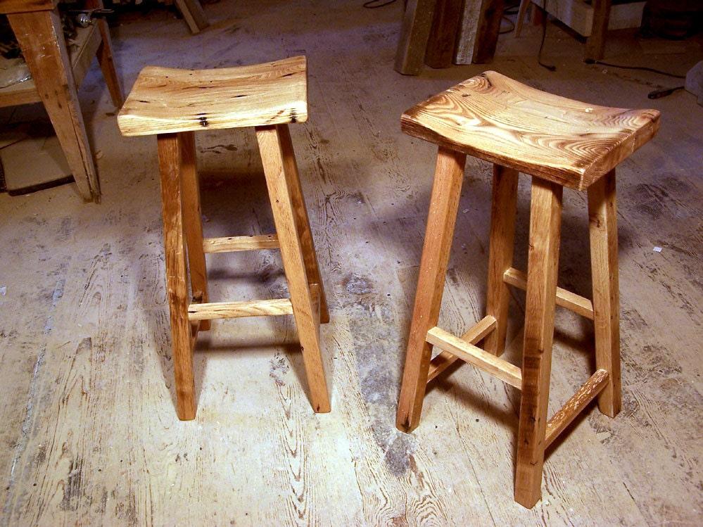 Reclaimed Wood Saddle Stools by BarnWoodFurniture on Etsy