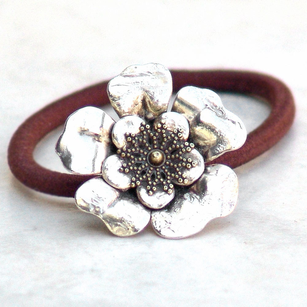 Ponytail Hair Band Silver Flower  Metal by Catherine Jeltes as galleryzooartdesigns on Etsy from etsy.com