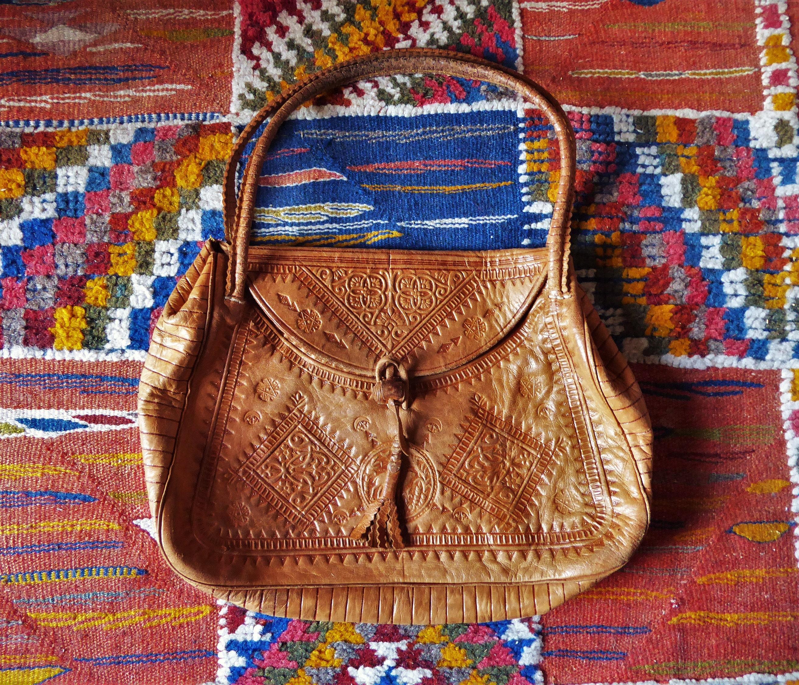 Moroccan leather handbag soft leather bag tan embossed leather boho bohemian