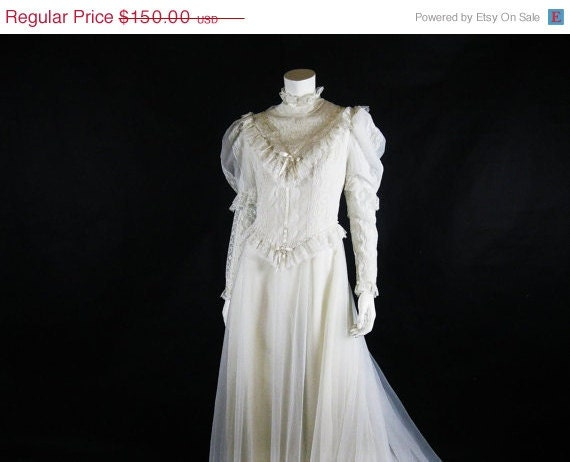 On sale 1970s wedding dress 70s lace satin by ladyscarletts for 1970s wedding dresses for sale