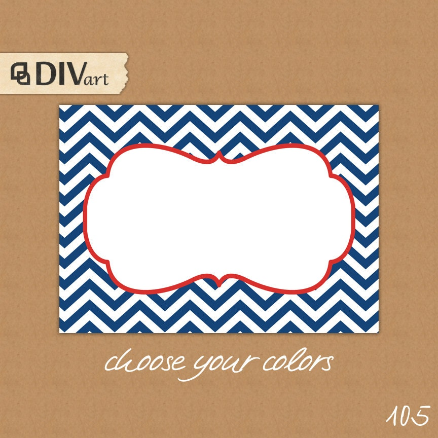 PRINTABLE chevron tags 3.5x2.5in CHOOSE your colors by DIVart