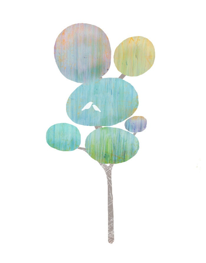 one tree with two birds - blue, green, pastels on white- 8.5 x 11 contemporary art print - lulubeaucoup