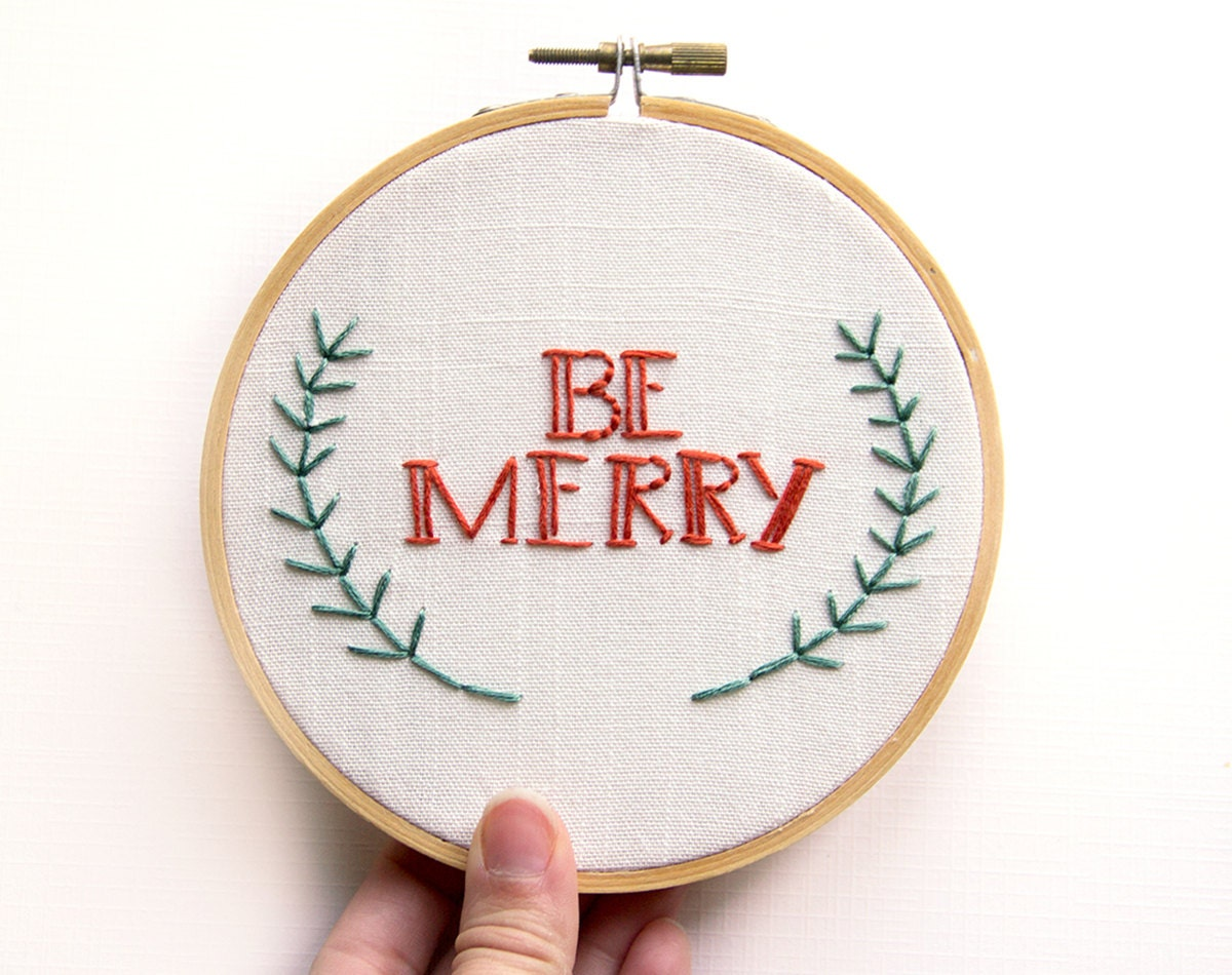 Christmas Decoration - Embroidery Wall Art - Be Merry Hoop Art - Holiday Decor - Red and green - Cute Festive Rustic - 5 Inch Hoop - IslaysTerrace