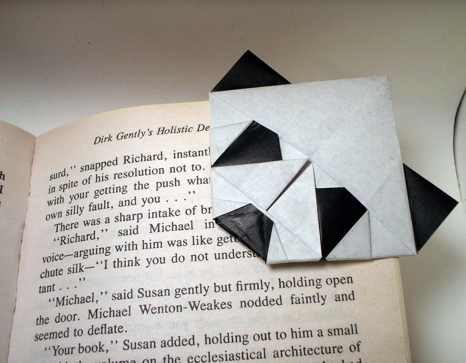 すべての折り紙 パンダ 折り紙 : Origami Panda Bookmark