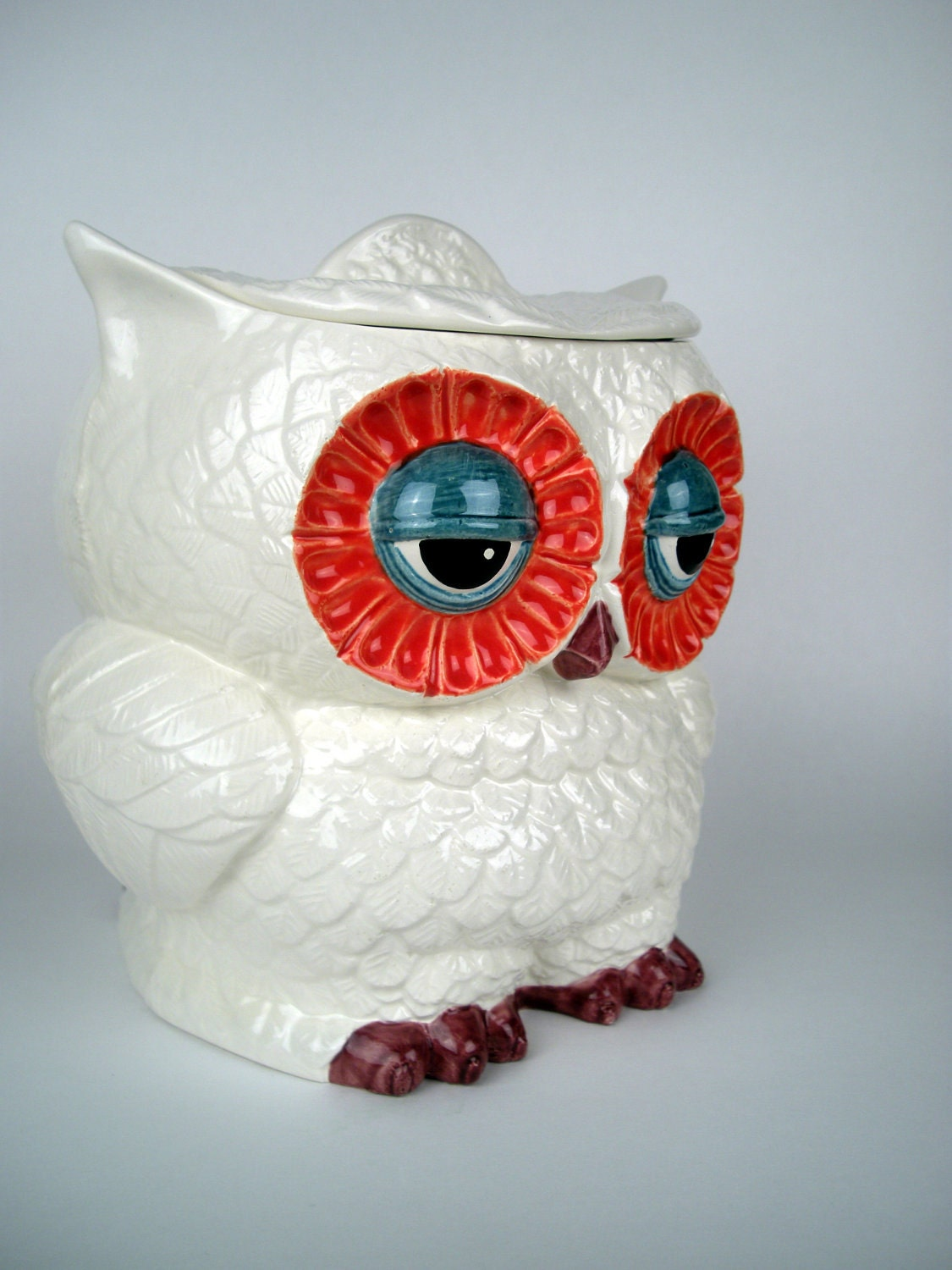 Vintage Ceramic Owl Cookie Jar, Large - modclay